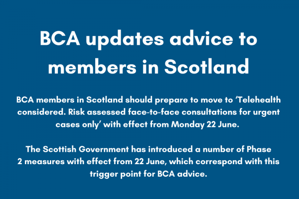 BCA updates advice to members in Scotland