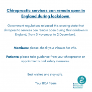 Chiropractic services are open in England